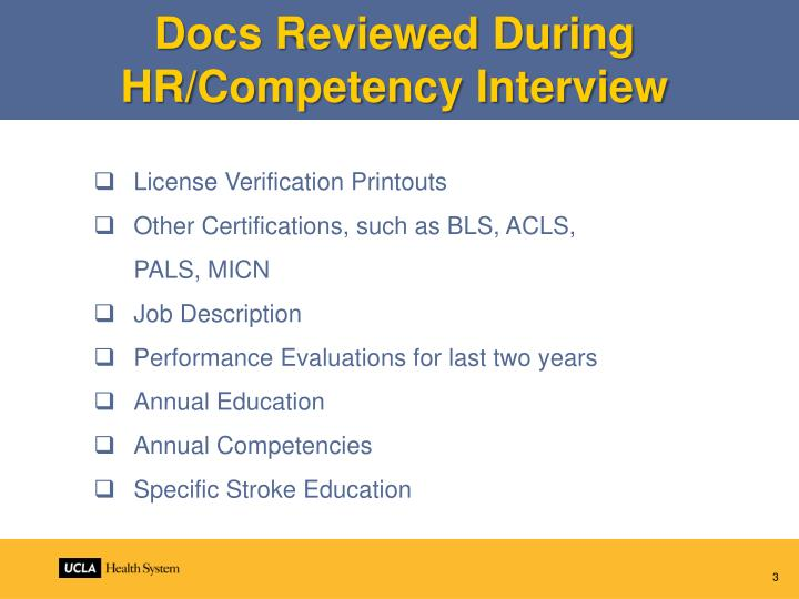 Docs Reviewed During HR/Competency Interview
