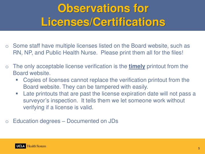 Observations for Licenses/Certifications