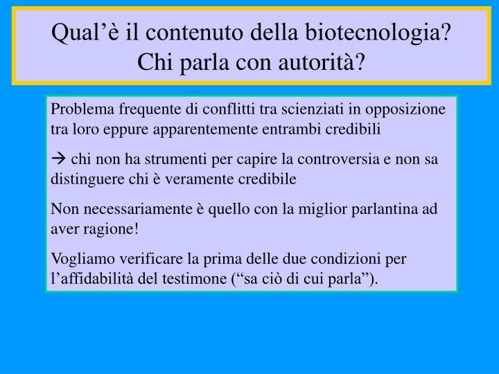 Qual'è il contenuto della biotecnologia?