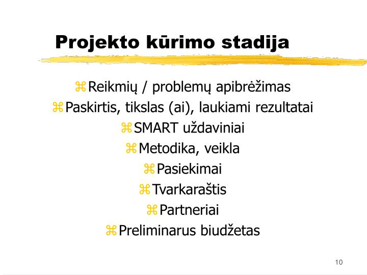 Reikmių / problemų apibrėžimas