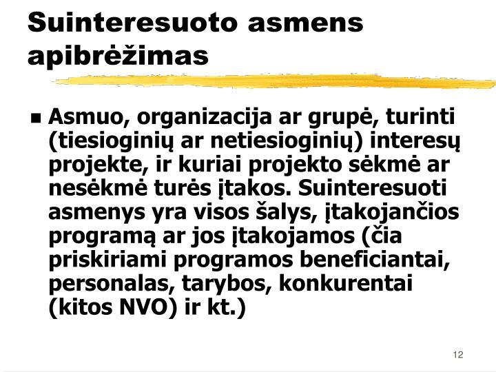 Asmuo, organizacija ar grupė, turinti (tiesioginių ar netiesioginių) interesų projekte, ir kuriai projekto sėkmė ar nesėkmė turės įtakos. Suinteresuoti asmenys yra visos šalys, įtakojančios programą ar jos įtakojamos (čia priskiriami programos beneficiantai, personalas, tarybos, konkurentai (kitos NVO) ir kt.)