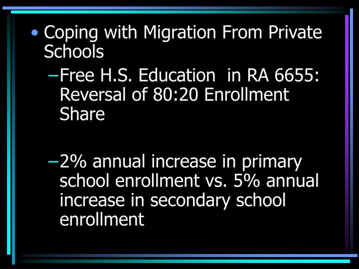 Coping with Migration From Private Schools