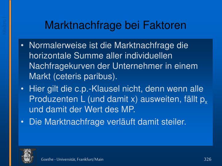 Marktnachfrage bei Faktoren