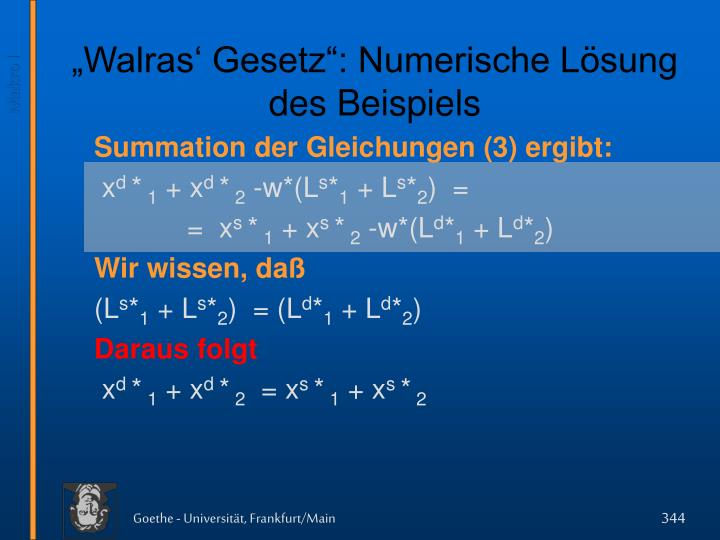 """""""Walras' Gesetz"""": Numerische Lösung des Beispiels"""