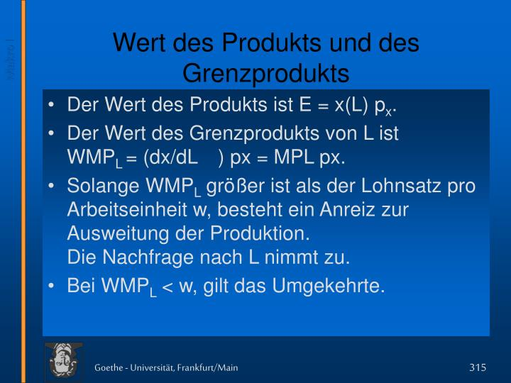 Wert des Produkts und des Grenzprodukts