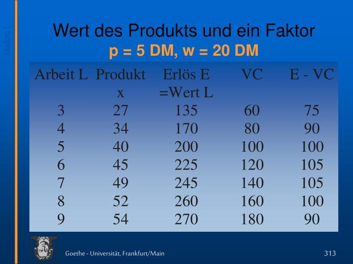 Wert des Produkts und ein Faktor