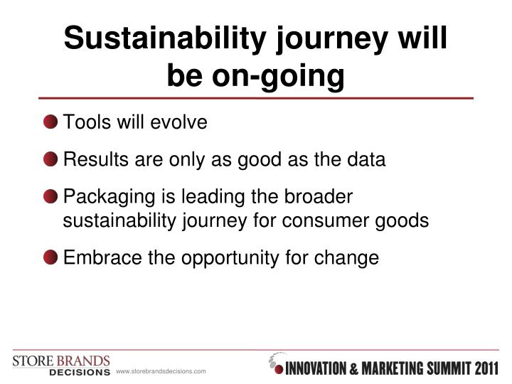 Sustainability journey will be on-going