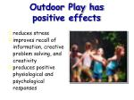 outdoor play has positive effects