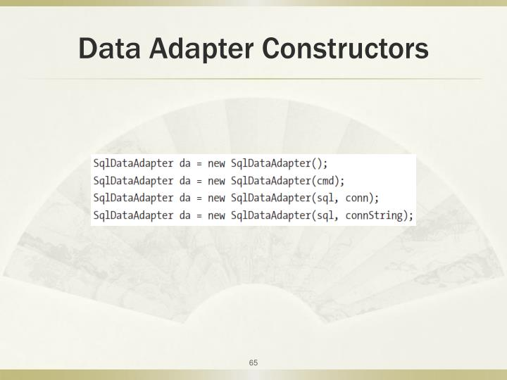 Data Adapter Constructors