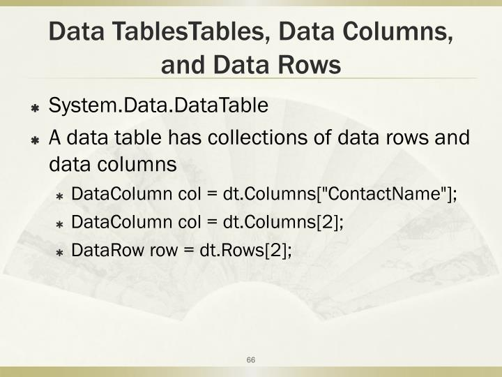 Data TablesTables, Data Columns,