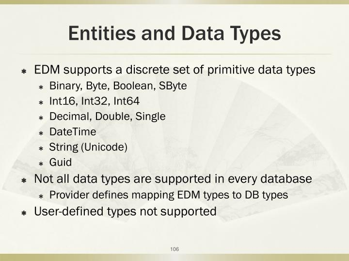 Entities and Data Types