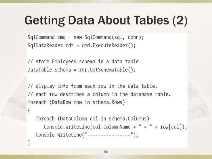 Getting Data About Tables (2)