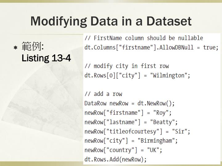 Modifying Data in a Dataset