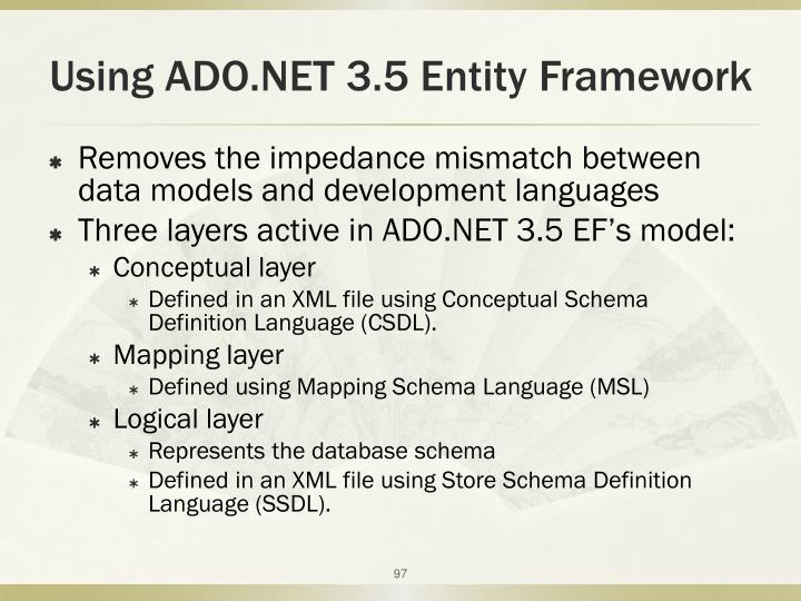 Using ADO.NET 3.5 Entity Framework