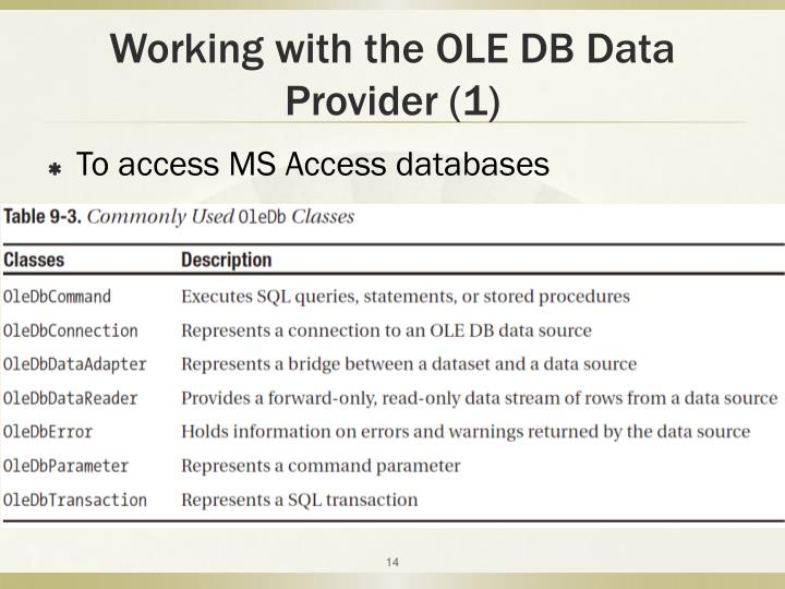 Working with the OLE DB Data Provider (1)