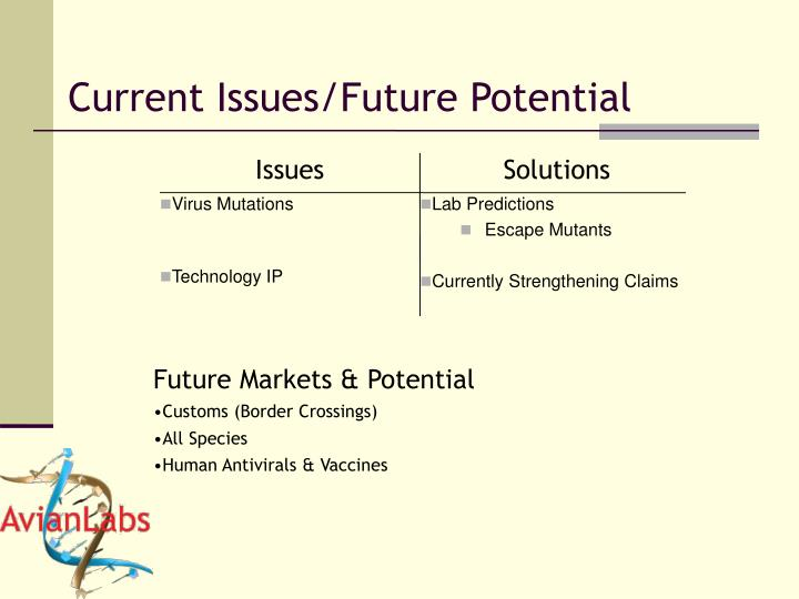 Current Issues/Future Potential