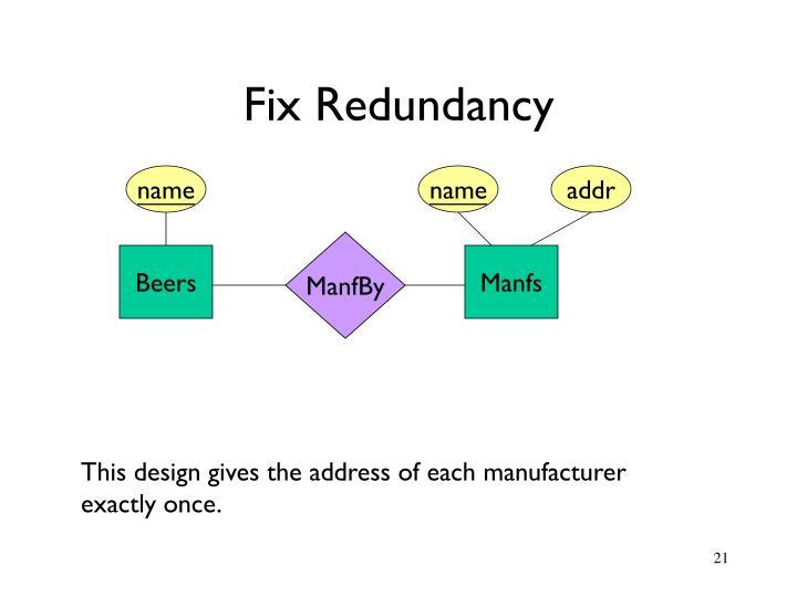 Fix Redundancy