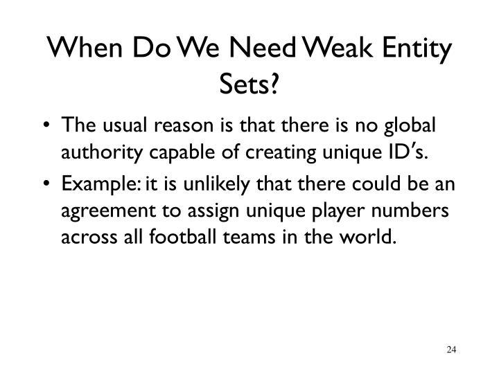 When Do We Need Weak Entity Sets?