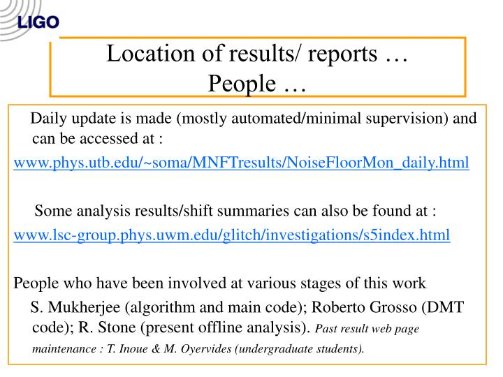 Location of results/ reports …