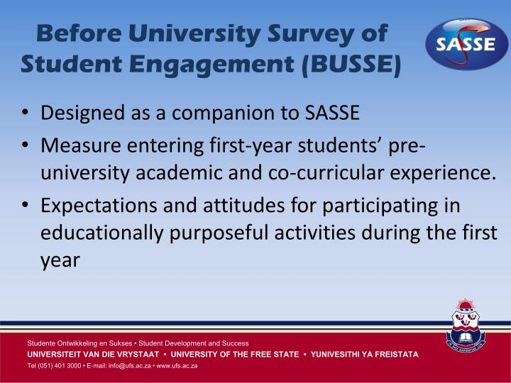 Before University Survey of Student Engagement (BUSSE)