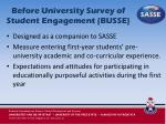 before university survey of student engagement busse