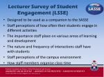 lecturer survey of student engagement lsse