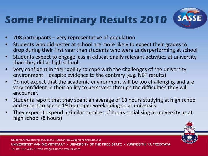 Some Preliminary Results 2010
