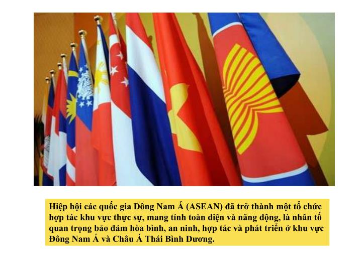 Hiệp hội các quốc gia Đông Nam Á (ASEAN) đã trở thành một tổ chức hợp tác khu vực thực sự, mang tính toàn diện và năng động, là nhân tố quan trọng bảo đảm hòa bình, an ninh, hợp tác và phát triển ở khu vực Đông Nam Á và Châu Á Thái Bình Dương.