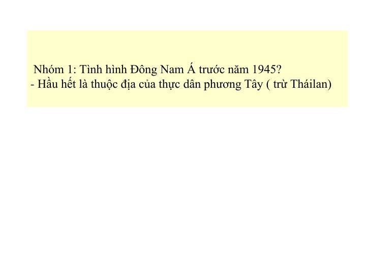 Nhóm 1: Tình hình Đông Nam Á trước năm 1945?