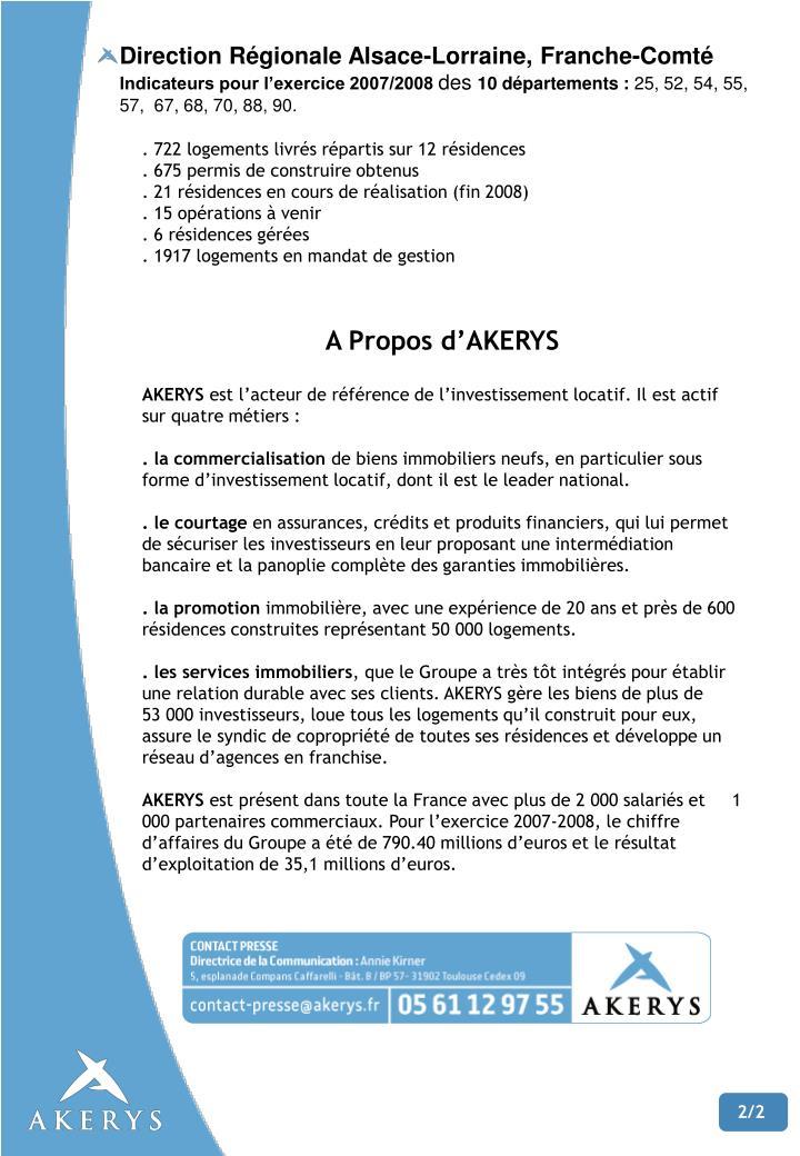 Direction Régionale Alsace-Lorraine, Franche-Comté