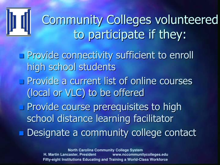 Community Colleges volunteered