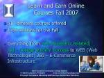 learn and earn online courses fall 2007