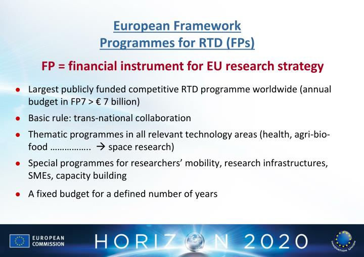 European framework programmes for rtd fps