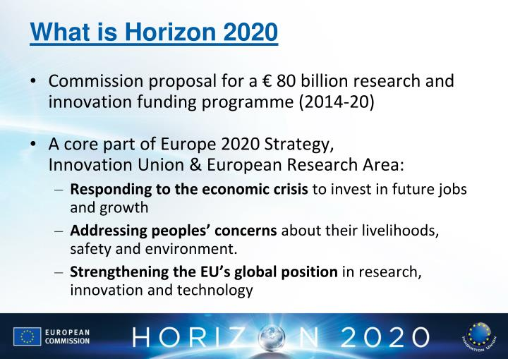 Commission proposal for a € 80 billion research and innovation funding programme (2014-20)