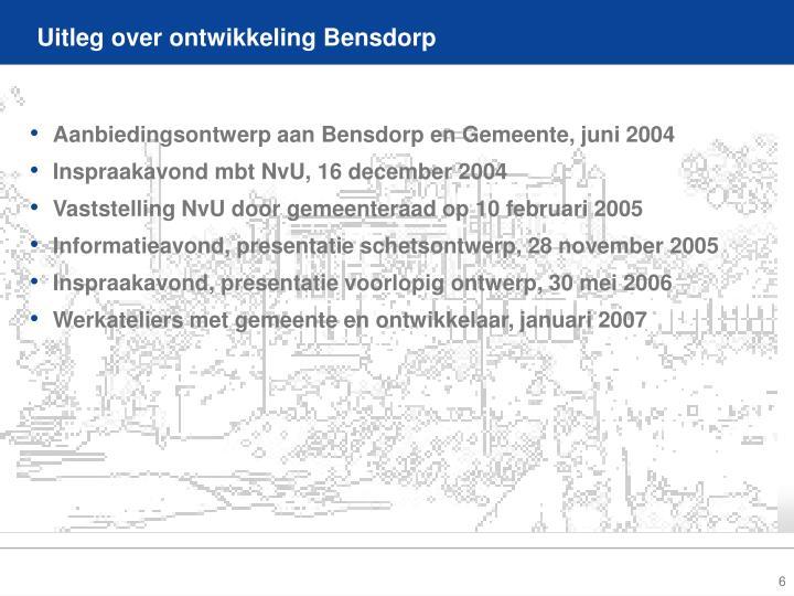 Uitleg over ontwikkeling Bensdorp