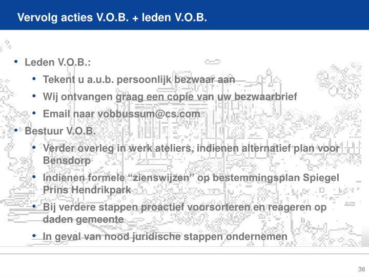 Vervolg acties V.O.B. + leden V.O.B.