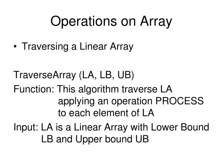 Operations on Array