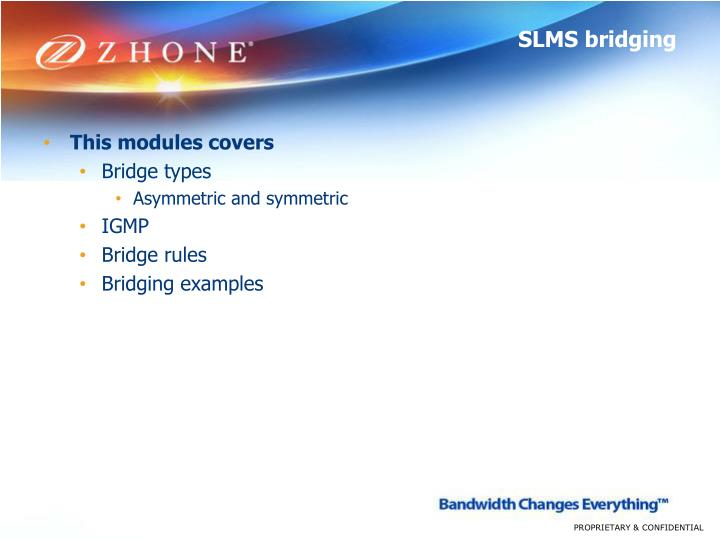 SLMS bridging