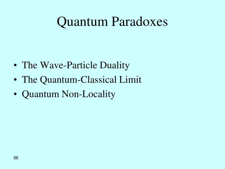 Quantum Paradoxes
