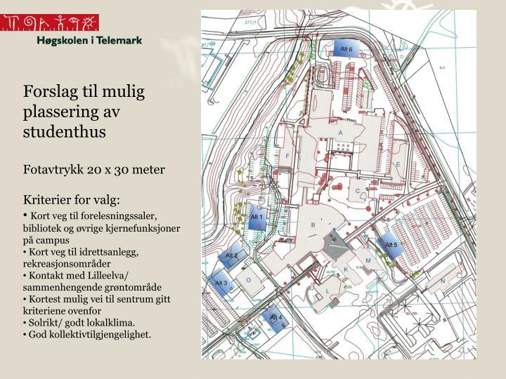 Forslag til mulig plassering av studenthus