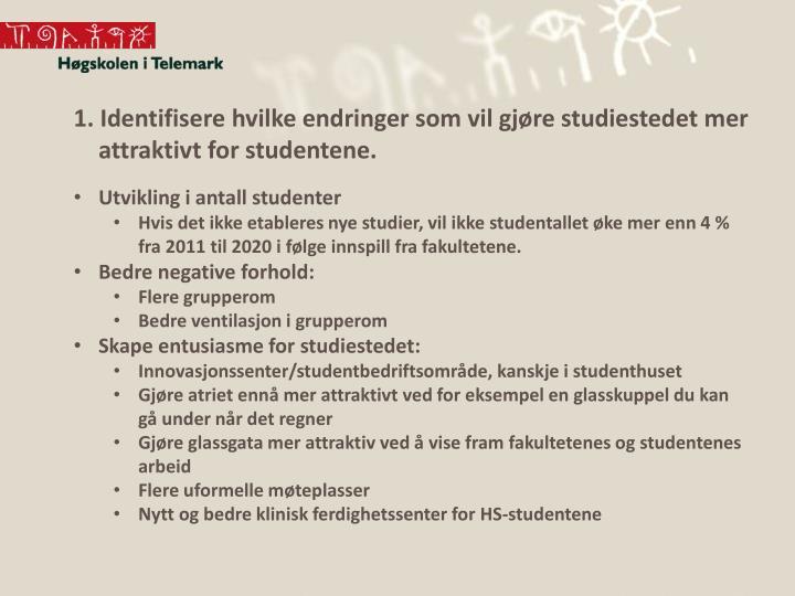 1. Identifisere hvilke endringer som vil gjøre studiestedet mer attraktivt for studentene.