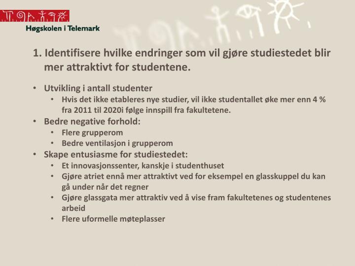 1. Identifisere hvilke endringer som vil gjøre studiestedet blir mer attraktivt for studentene.