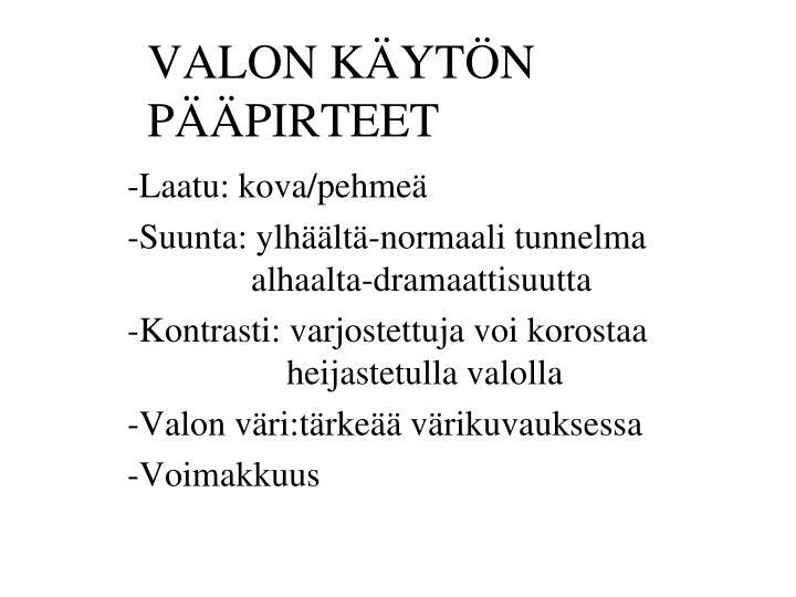 VALON KÄYTÖN PÄÄPIRTEET