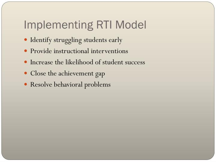 Implementing RTI Model
