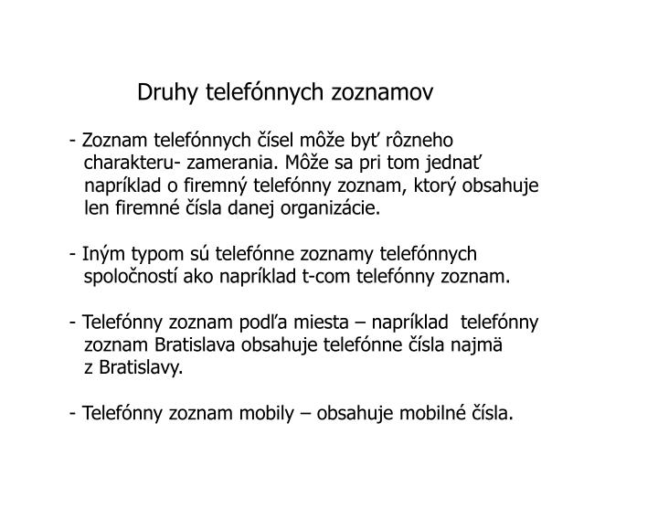 Druhy telefónnych zoznamov