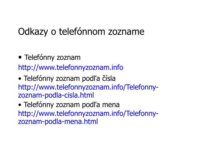 Odkazy o telefónnom zozname