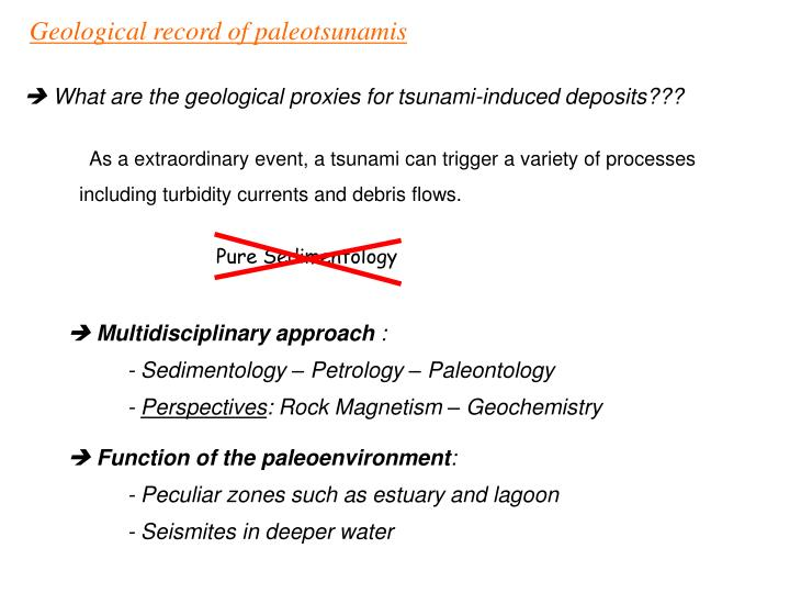 Geological record of paleotsunamis