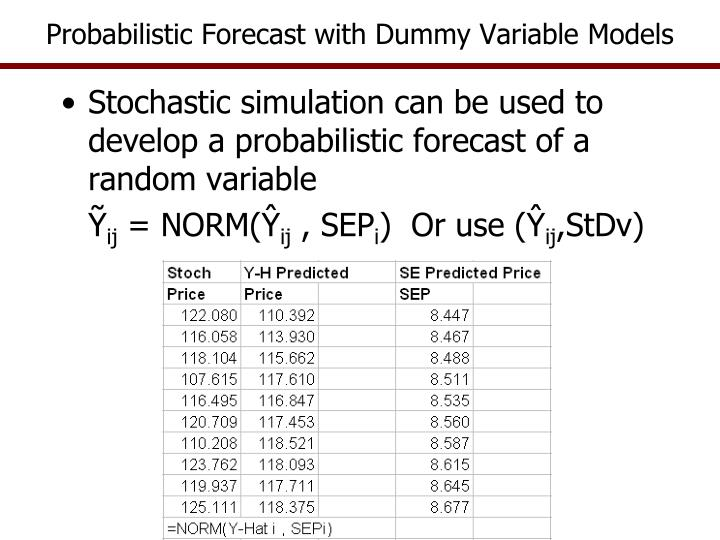 Probabilistic Forecast with Dummy Variable Models