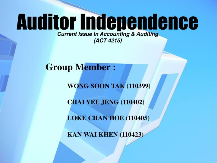 auditor independence and non audit services Between auditor's independence and non-audit services the lack of clear definition of the lack of clear definition of auditor independence contributes to the resilience of this debate.