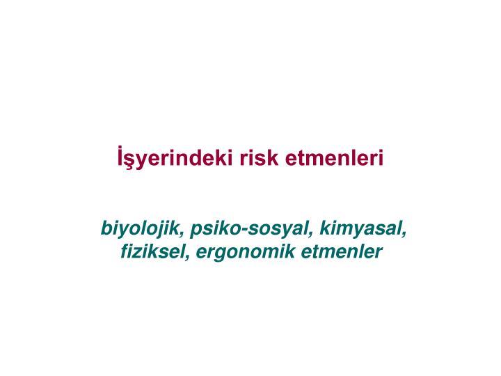 İşyerindeki risk etmenleri